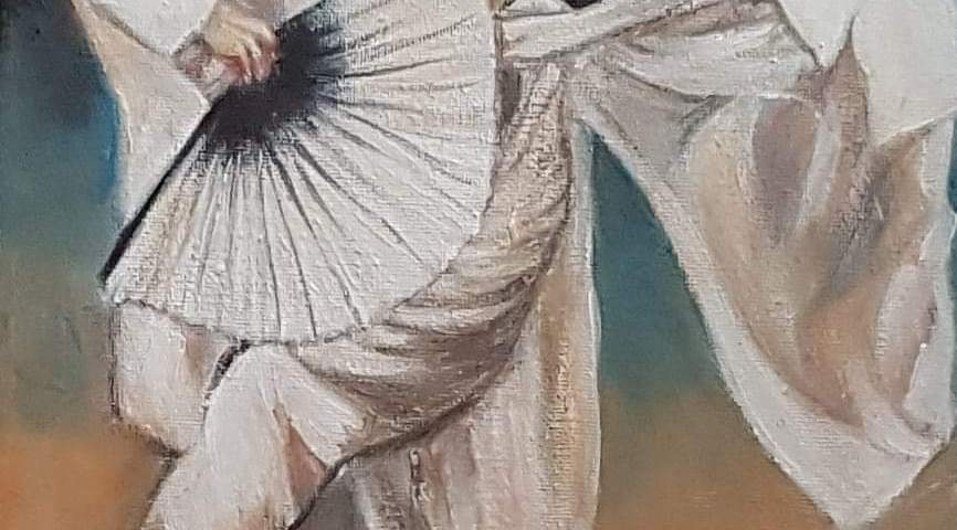 L'homme dansant à l'aube - acrylique., 25X30 cm (2020)