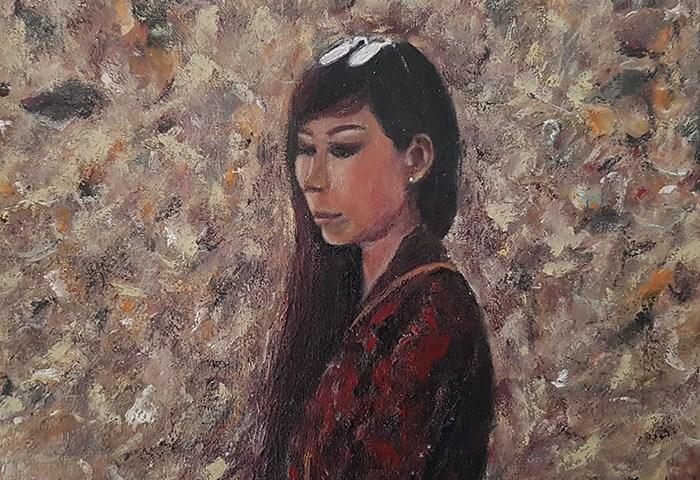 La jeune femme dans ses pensées - acrylique