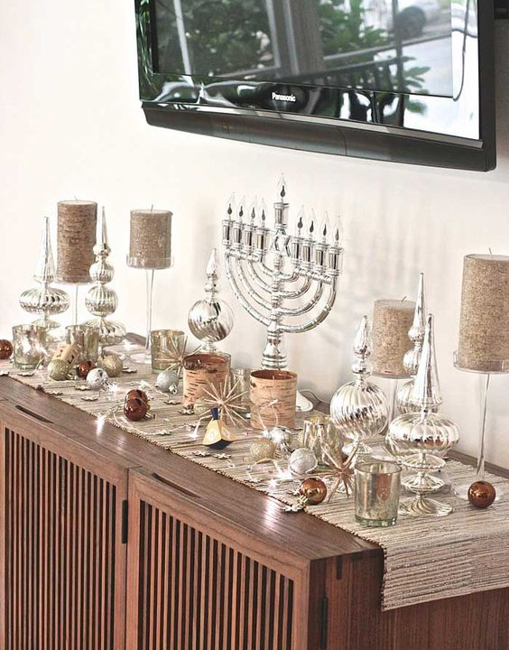 Great sideboard idea at http://www.chaiandhome.com/5-other-places-to-decorate-for-chanukah/