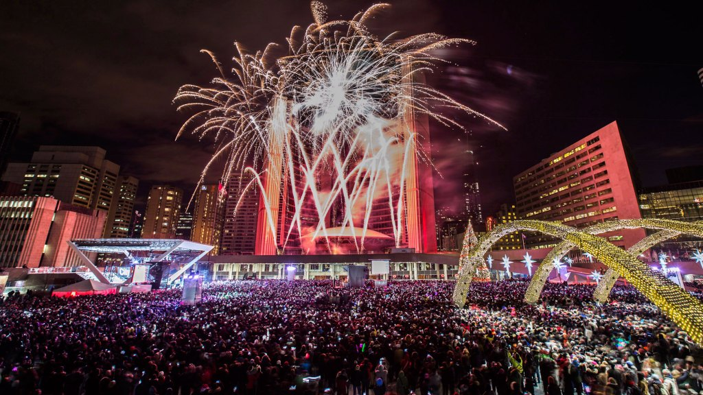 New Year's Eve at Nathan Phillips Square, December 31st, Free. Live music, dancing, skating and a stunning firework send-off to Canada's 150th