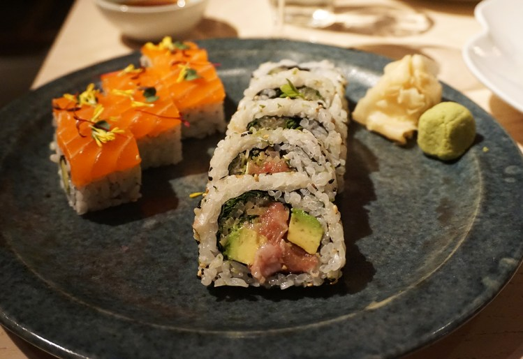 Salmon + fatty tuna and avocado sushi from Sake no Hana in Mayair, London | eating gluten free in London