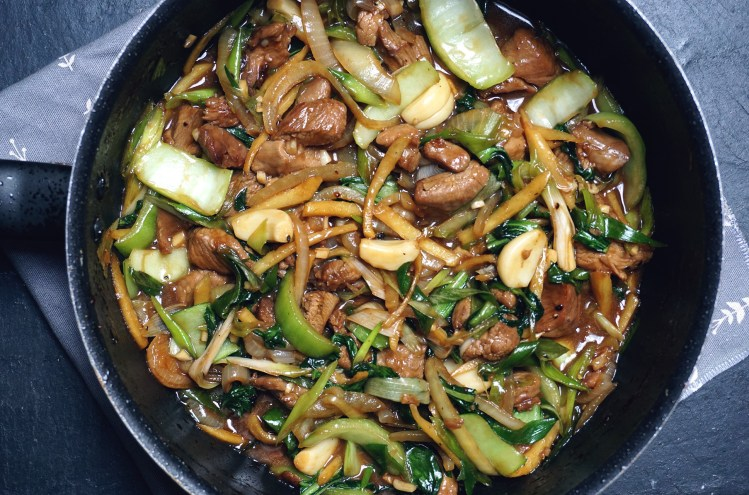 Gluten free chicken and pak choi in oyster sauce