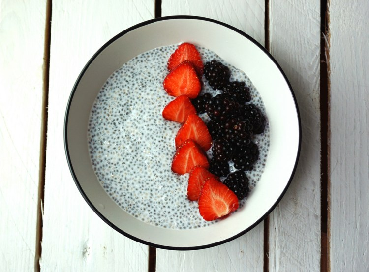 Chia pudding with strawberries and blackberries