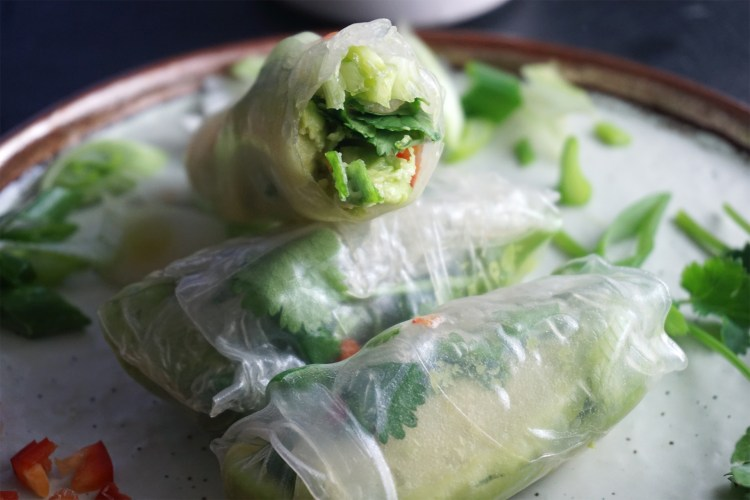 Gluten free easy healthy fresh avocado spring rolls