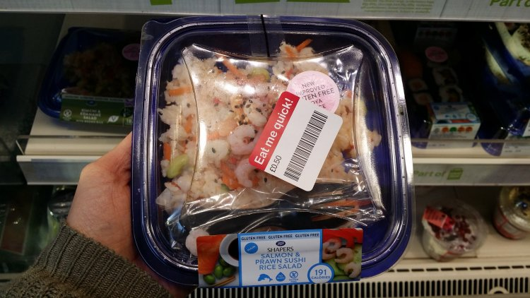 Boots gluten free sushi - salmon and prawn salad - upgraded gluten free soy sauce