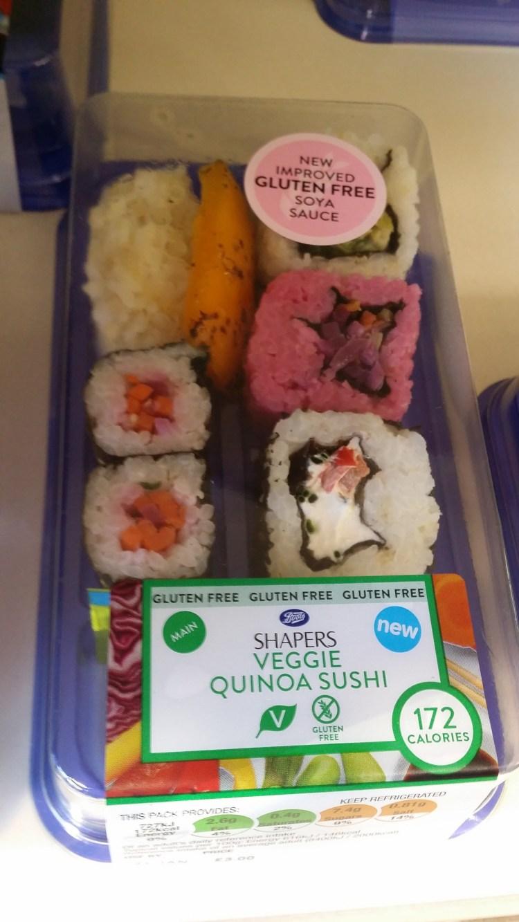 Boots gluten free sushi - veggie quinoa sushi - upgraded gluten free soy sauce