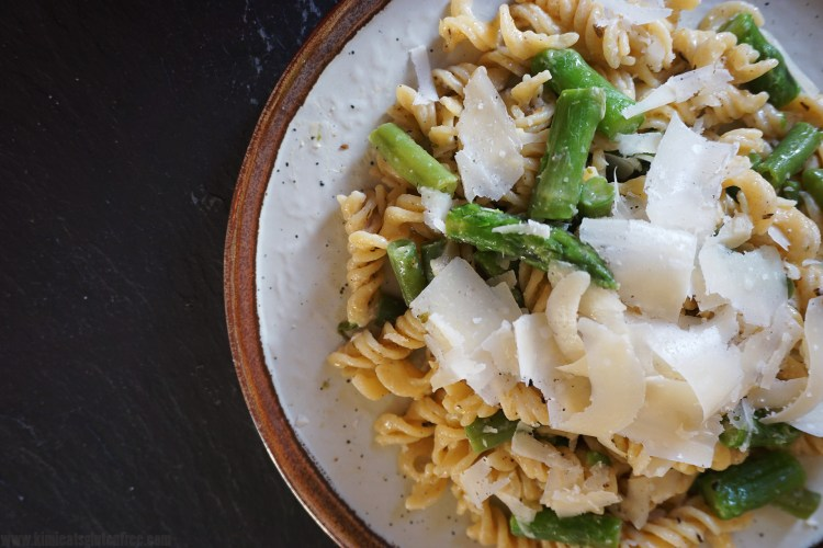Gluten free asparagus, green beans and parmesan pasta made with Sainsbury's gluten free fusilli - gluten free asparagus parmesan pasta