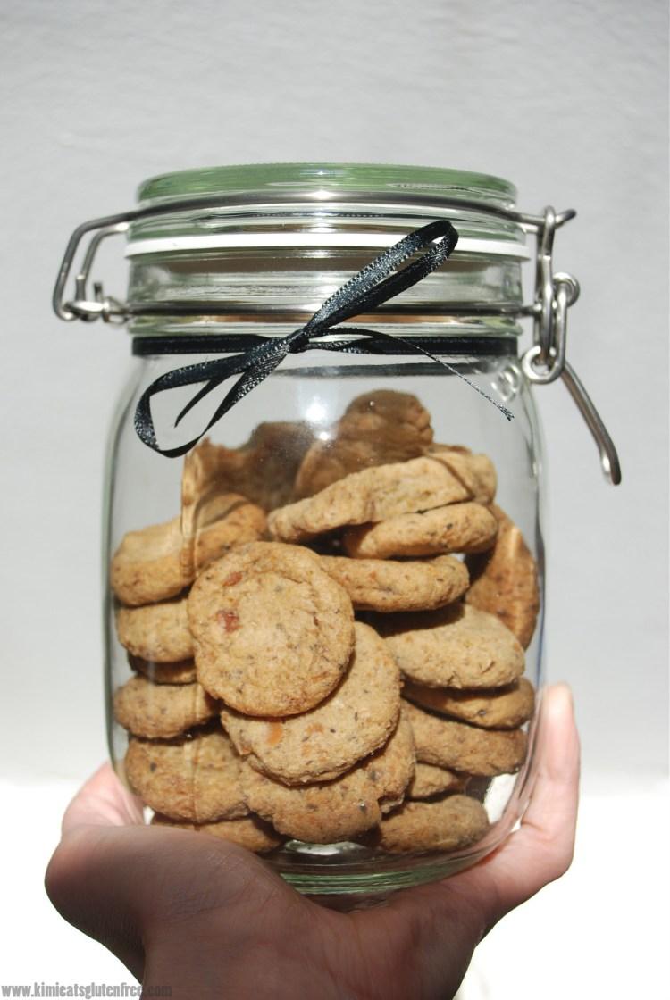 Jar of homemade sardine dog treats - gluten free dog cookies - www.kimieatsglutenfree.com