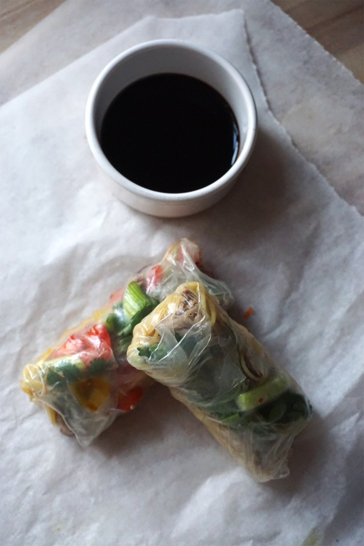 Gluten free Chinese crispy duck spring rolls with basic easy Singapore noodles