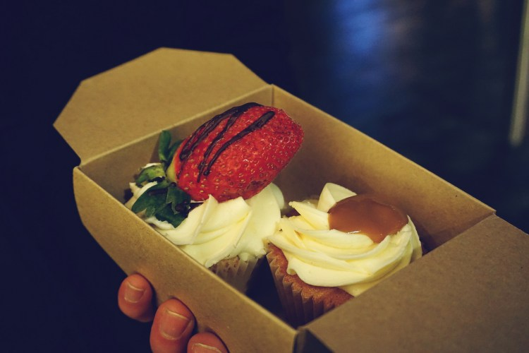 Gluten free strawberry and vanilla cupcake + salted caramel cupcake from Glutopia London gluten free bakery and cafe