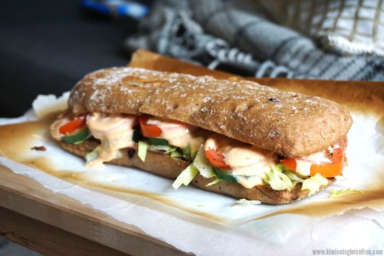 Homemade gluten free Subway sandwich / gluten free Italian BMT / gluten free schnitzer ciabatta bread