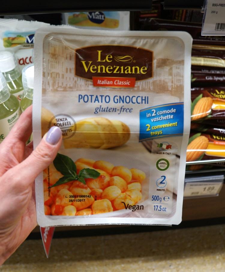 Gluten free gnocchi from Spar in venice - gluten free Venice guide