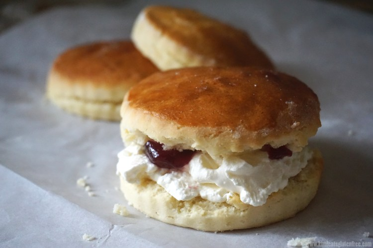 Plain gluten free scones with whipped cream and raspberry jam