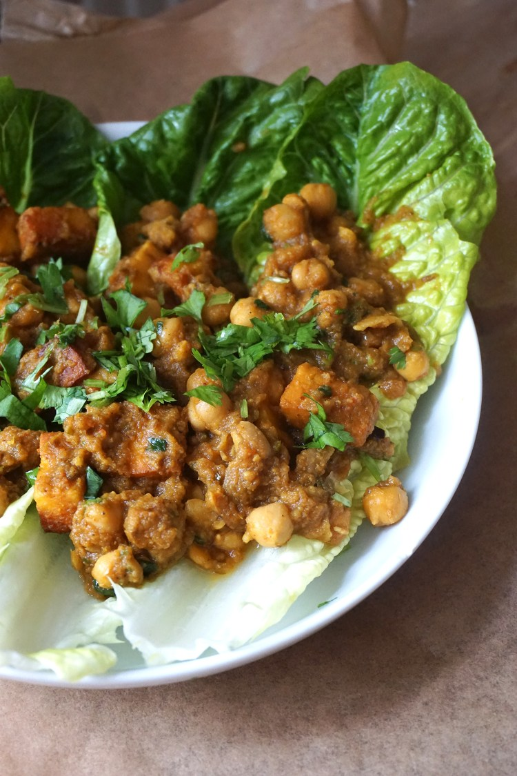 Paneer chana masala lettuce wraps - gluten free vegetarian chickpea curry with added paneer