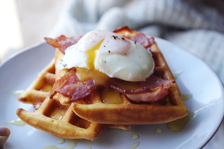 Savoury gluten free churro waffles with bacon and eggs