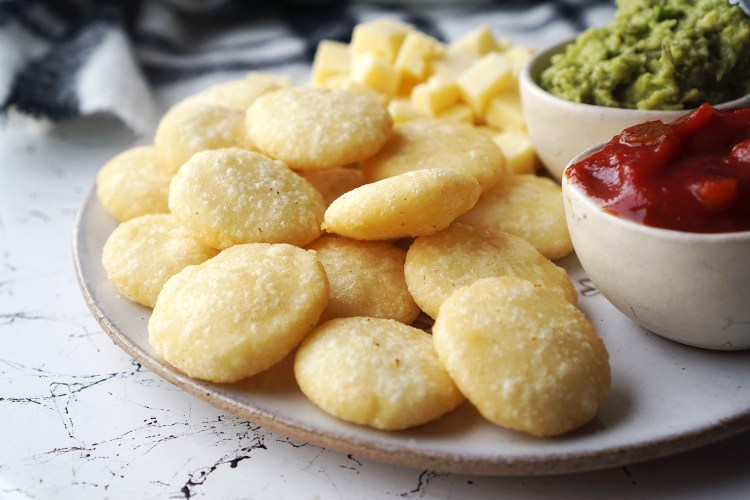 Fried and crispy mini arepas | naturally gluten free South American flat breads made of cornmeal