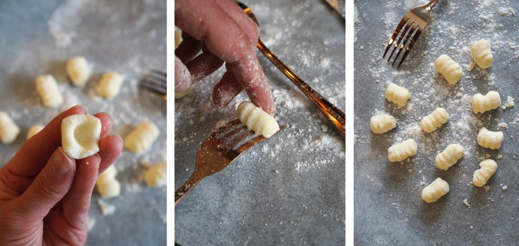 how to shape homemade gnocchi - creating an indentation and rolling them on the back of a fork