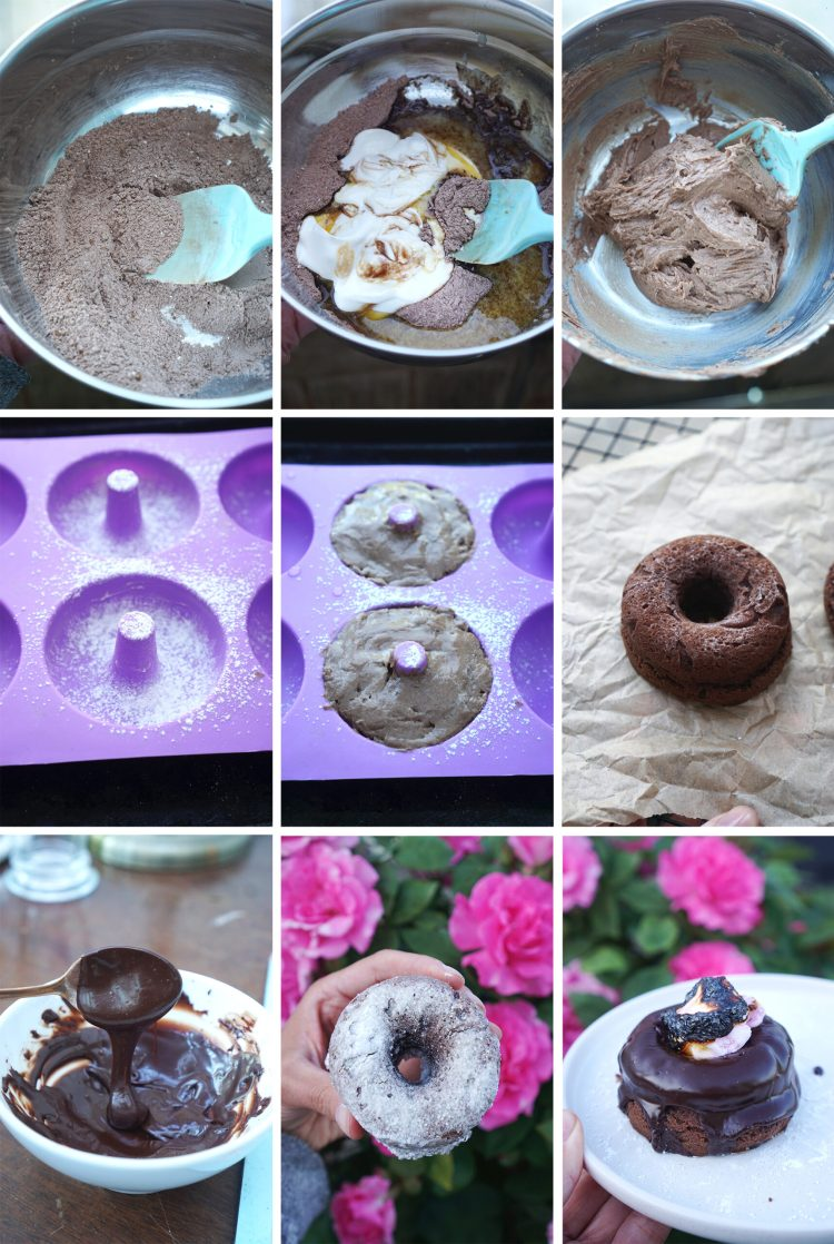 How to make gluten free chocolate yoghurt doughnuts - step by step