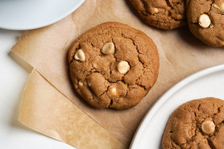 Gluten free perfectly chewy white chocolate chip cookies made with Freee Foods self-raising flour