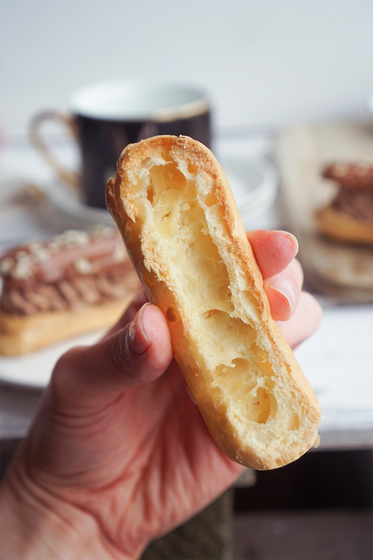 Gluten free eclairs / mostly hollow inside texture