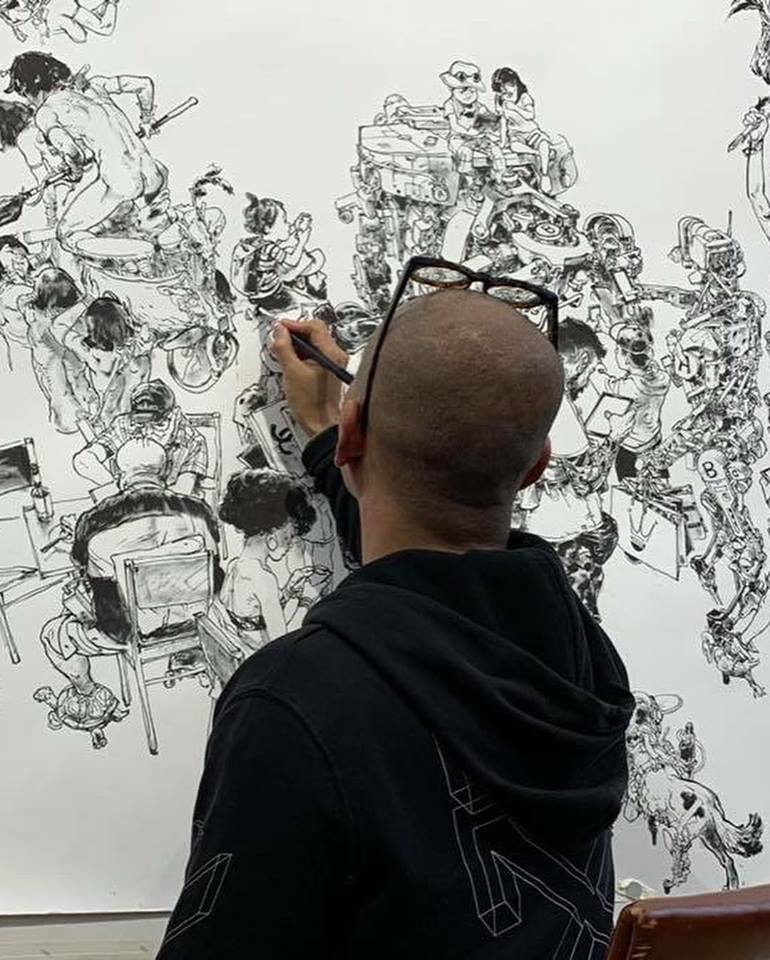 Kim Jung Gi drawing for a Drawing Show in Paris
