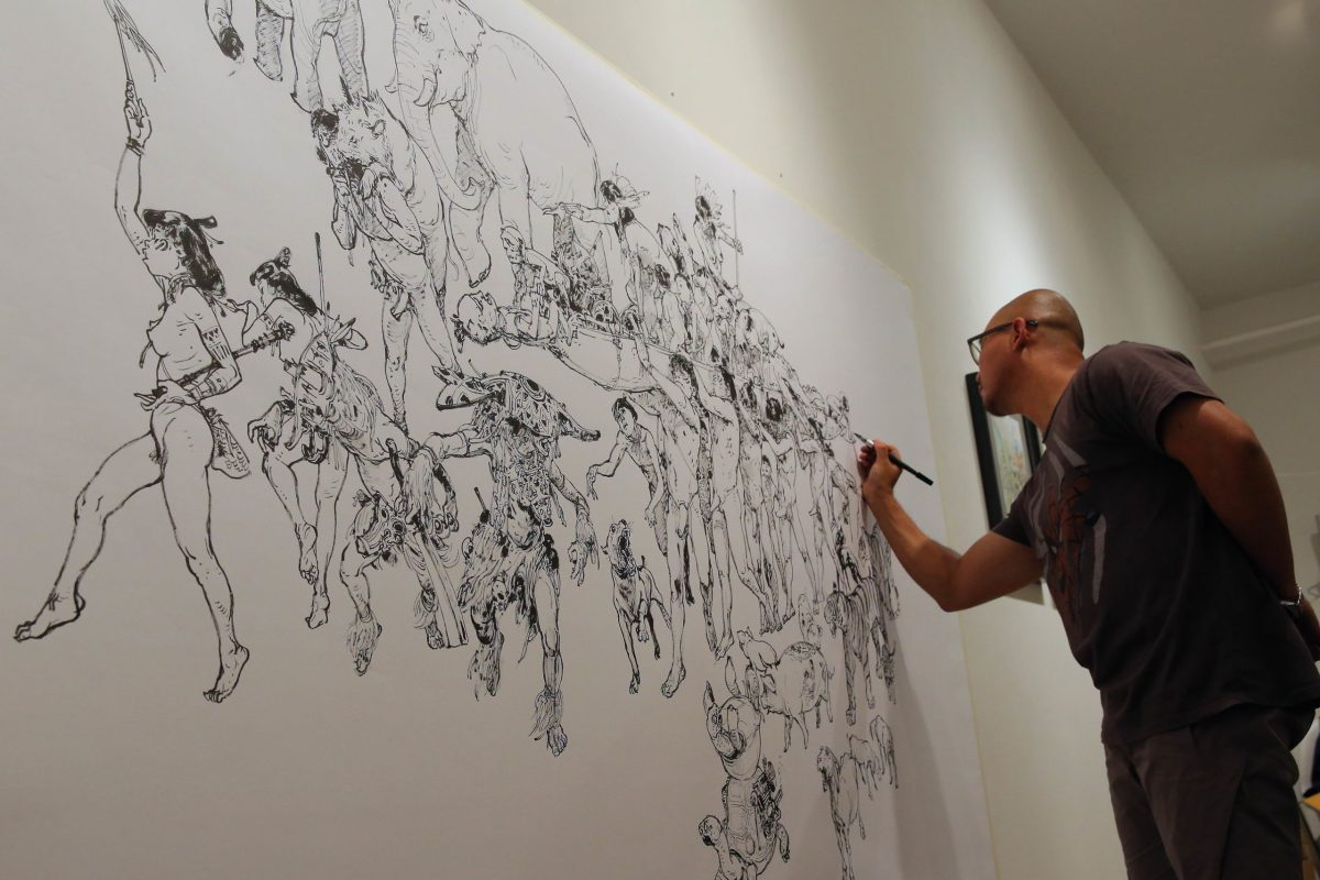 Kim Jung Gi drawing a fresque