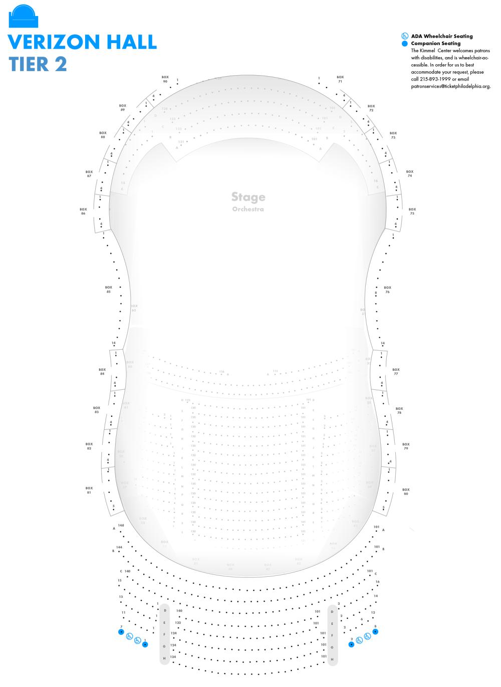 medium resolution of verizon hall second tier seating chart