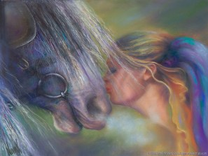 """Devotion,"" Original Painting of a blonde woman kissing a horse on the nose in pastel over watercolor by Kim Novak"