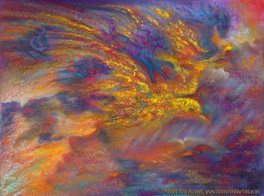 """""""In the Canyons of My Mind,"""" Original Painting of a dreamscape in pastel over watercolor in intense, vibrant colors by Kim Novak"""