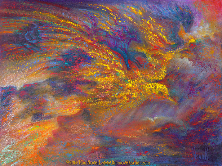 """In the Canyons of My Mind,"" Original Painting of a dreamscape in pastel over watercolor in intense, vibrant colors by Kim Novak"