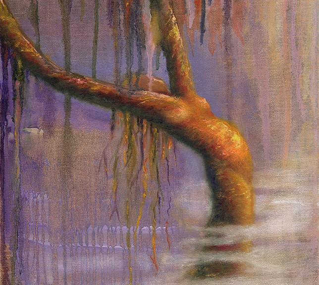 """Once Upon A Time,"" Original Painting of a tree woman in pastel over watercolor by Kim Novak. Copyright 2014 Kim Novak. All rights reserved."