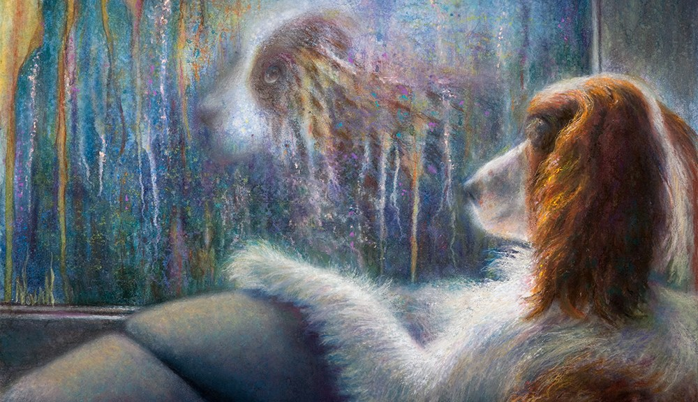 """""""Reflections,"""" Original Painting in of a dog looking at its reflectino in the window on a rainy day by Kim Novak"""