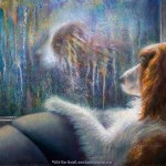 limited edition prints by Kim Novak - Reflections: Original Painting in of a dog looking at its reflection in the window on a rainy day by Kim Novak. copyright 2014 Kim Novak, all rights reserved.