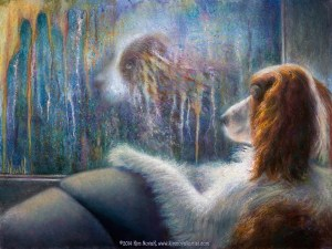 """Reflections,"" Original Painting in of a dog looking at its reflection in the window on a rainy day by Kim Novak. Copyright 2014 Kim Novak, all rights reserved."