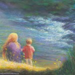 limited edition prints by Kim Novak - White Winged Messenger, Original Painting of a young woman and her child by a river, with an apparition of a white dove in the rapids of the stream. Pastel over watercolor by Kim Novak. Copyright 2014 Kim Novak. All rights reserved.