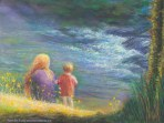 White Winged Messenger, Original Painting of a young woman and her child by a river, with an apparition of a white dove in the rapids of the stream. Pastel over watercolor by Kim Novak. Copyright 2014 Kim Novak. All rights reserved.