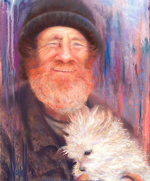 Original pastel over watercolor painting of a homeless man with his small white dog, by Kim Novak. Copyright 2014 Kim Novak, all rights reserved.