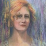 limited edition prints by Kim Novak - Woman From the Train, Original Pastel over watercolor painting by Kim Novak. copyright 2014 Kim Novak, all rights reserved.