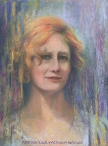 Woman From the Train, Original Pastel over watercolor painting by Kim Novak