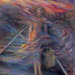limited edition prints by Kim Novak - Finding My Way: Impressionist painting of a woman walking down a railroad track with a suitcase in her hand, accompanied by this poem, also by Kim Novak: 'Finding my way to find myself, by myself, in my own way, To be seen and be heard for keeping my word; And at the end of the day, fly like a bird!' ~Kim Novak © Copyright 2014 Kim Novak, all rights reserved.