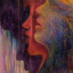 limited edition prints by Kim Novak - Rainbow Voices ©2014: Profiles of 3 African women singing in pastel over watercolor, accompanied by this poem, also by Kim Novak: 'Rainbow Voices, sweet as the bird in the eye of girl with the golden hair- bird drinking dew from the jungle dawn where her sisters were born – related dreams- fated schemes; together they form a 'Rainbow Coalition' transition to transform the forlorn with a song. United they stand divided WE fall; voices ring out, echoes multiply their call, 'Come join the forces, no remorses,' a common need for harmony unsung, the unlived memory of discord undone… Rainbow Voices seek a place in the sun, a piece of peace, to live as one.' ~Kim NovaK This print is a detail of the women/wings from Ms. Novak's 'Transformation: Nelson Mandela' painting.