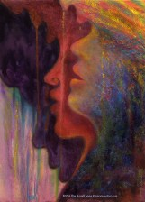 """Profiles of 3 African women singing in pastel over watercolor, accompanied by this poem, also by Kim Novak: """"Rainbow Voices, sweet as the bird in the eye of girl with the golden hair- bird drinking dew from the jungle dawn where her sisters were born – related dreams- fated schemes; together they form a 'Rainbow Coalition' transition to transform the forlorn with a song. United they stand divided WE fall; voices ring out, echoes multiply their call, """"Come join the forces, no remorses,"""" a common need for harmony unsung, the unlived memory of discord undone… Rainbow Voices seek a place in the sun, a piece of peace, to live as one."""" ~Kim NovaK This print is a detail of the women/wings from Ms. Novak's 'Transformation: Nelson Mandela' painting. © Copyright 2014 Kim Novak, all rights reserved."""