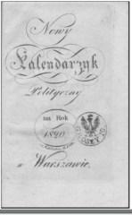 Okładka Nowego Kalendarzyka Politycznego na rok 1820