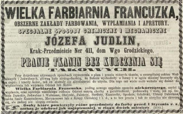 Reklama farbiarni Józefa Judlina z 1866 Kurier Warszawski