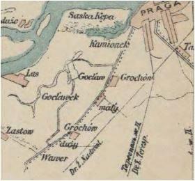 Grochów mały wielki fabryka Geberów mapa 1895