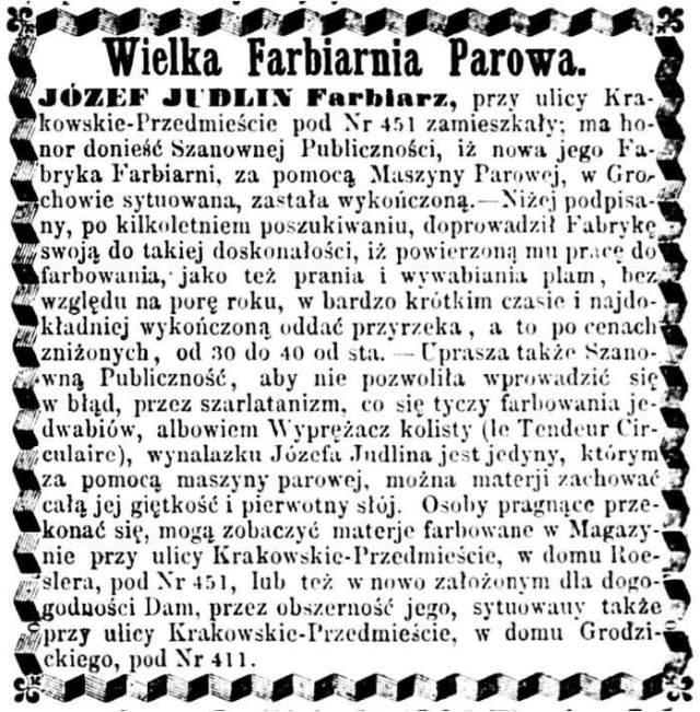 Józef Judlin Ogłoszenie 1862 grudzień Wielka Farbiarnia Parowa