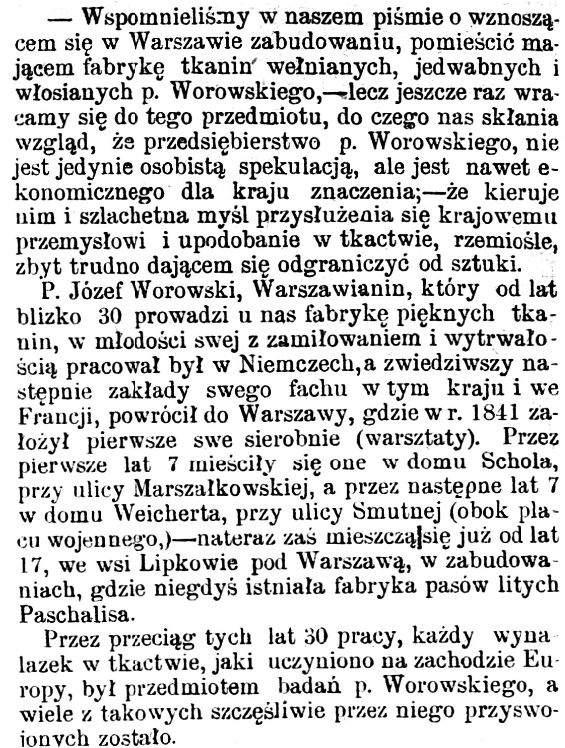 Józef Worowski artykuł w prasie 1869 1