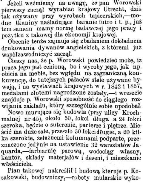 Józef Worowski artykuł w prasie 1869 2