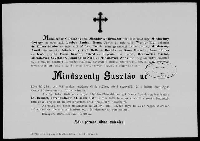 Nekrologi węgierskie Mindszenty Gusztav