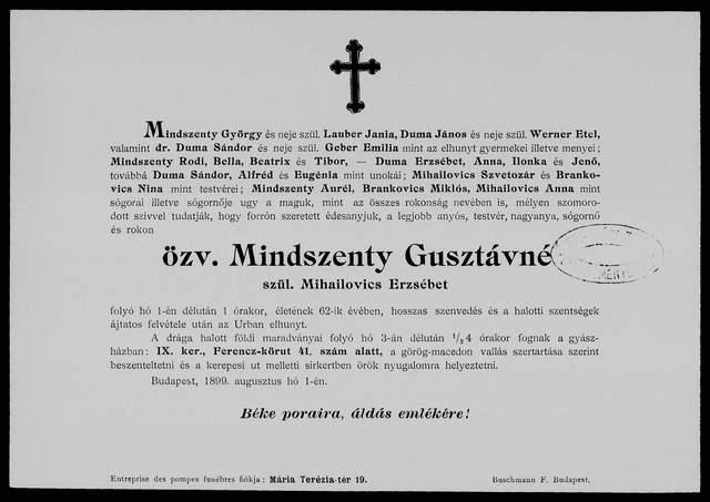 Nekrologi węgierskie Mindszenty Gusztavne